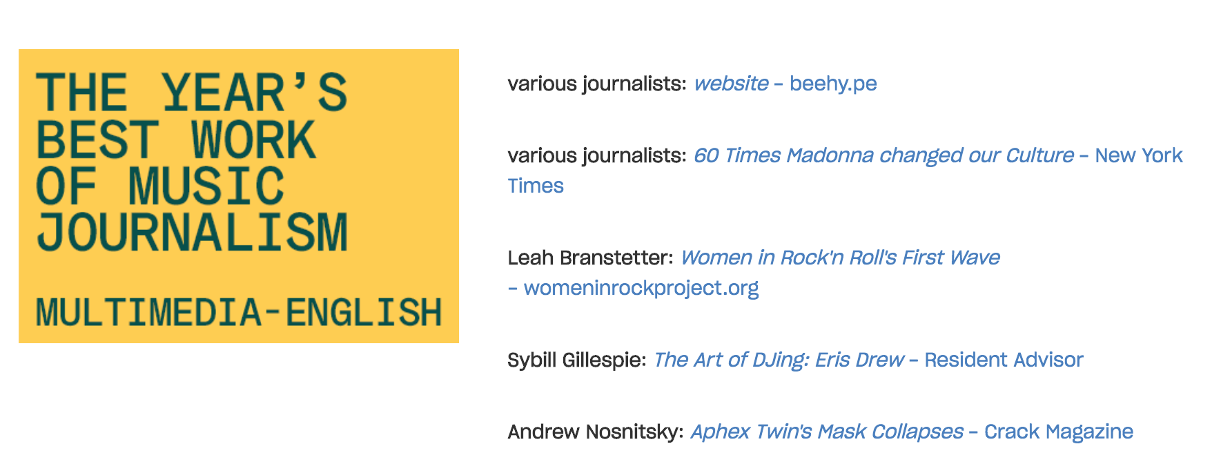 Shortlist for Reeperbahn Festival International Music Journalism Awards, English Multimedia category, with Womeninrockproject.org included.
